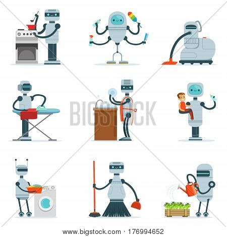 Housekeeping Household Robot Doing Home Cleanup And Other Duties Series Of Futuristic Illustration With Servant Android. Future Technology And Robotic House Cleaner Cartoon Vector Drawings.