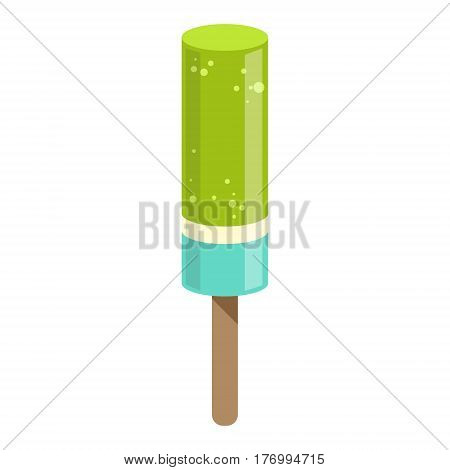 Green And Blue Ice-Cream Bar On A Stick, Colorful Popsicle Isolated Cartoon Object. Cold Sweet Dessert Frozen Sherbet Cute Childish Vector Icon.