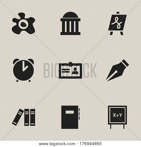 Set Of 9 Editable Education Icons. Includes Symbols Such As Courtroom, Alarm, Bookshelf And More. Can Be Used For Web, Mobile, UI And Infographic Design.