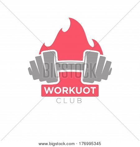 Workout club promotion banner. Dumbbell on background of burning fire. Vector logotype design of bodybuilding or powerlifting sport center, symbol of strength trainings in flat style design