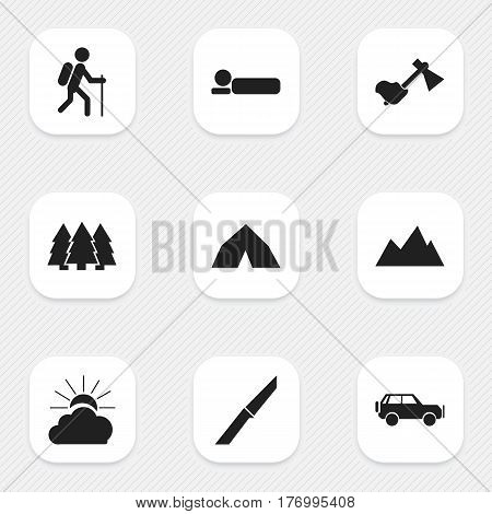 Set Of 9 Editable Travel Icons. Includes Symbols Such As Sport Vehicle, Ax, Gait And More. Can Be Used For Web, Mobile, UI And Infographic Design.