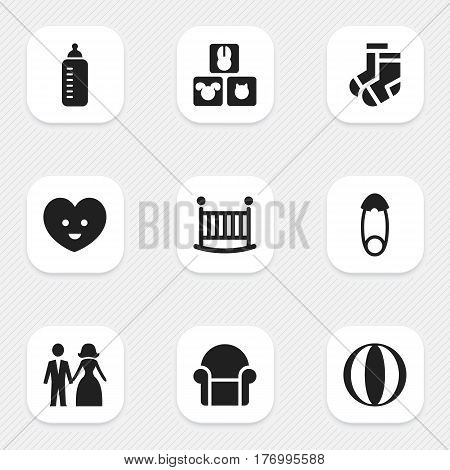 Set Of 9 Editable Kin Icons. Includes Symbols Such As Married, Seat, Child Cot And More. Can Be Used For Web, Mobile, UI And Infographic Design.