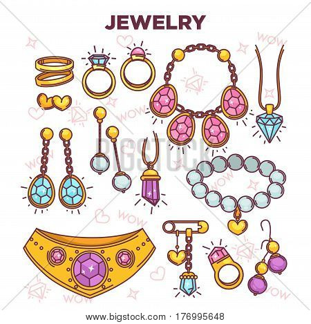 Jewelry items vector flat collection isolated on white. Colorful poster of expensive luxury accessories for women. Wedding rings, gold necklace, chains with precious stones, pearl bracelet, safety pin