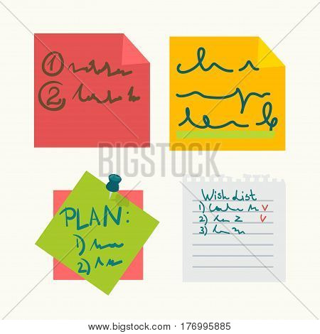 Colorful sticky notes with writings set on white. Vector poster of papers with wish list on striped paper from notebook, day plan on green piece held by sharp button and other information on sheets