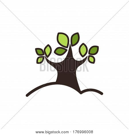 Tree with green leaves graphic close-up icon isolated on white background. Logo design of heavy wood in cartoon style. Vector illustration of trunk growing from ground stylish logotype symbol
