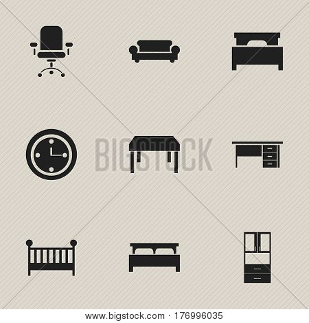 Set Of 9 Editable Furnishings Icons. Includes Symbols Such As Watch, Bearings, Ergonomic Seat And More. Can Be Used For Web, Mobile, UI And Infographic Design.