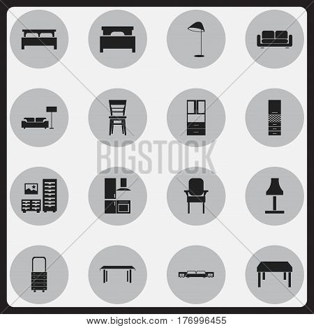 Set Of 16 Editable Furnishings Icons. Includes Symbols Such As Bearings, Davenport, Mattress And More. Can Be Used For Web, Mobile, UI And Infographic Design.