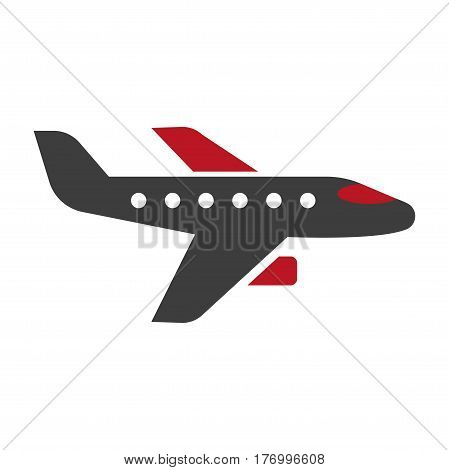 Horizontal black and red aircraft hand drawn pattern on white background. Vector illustration of air transport close-up. Graphic icon in cartoon style of passenger transportation vehicle, plane logo