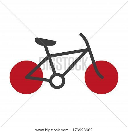 Bicycle silhouette isolated on white vector logo icon. Sign of transportation mean with two red round wheels and black body with chain, with one seat and helm. Illustration of bike kind for 1 person
