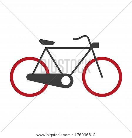 Bicycle graphic silhouette logotype vector icon on white. Isolated mean of transportation in red and black colors with two wheels, one seat, chain and pedals turned by feet. Hand drawn line bike sign
