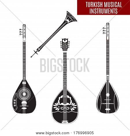 Vector set of traditional turkish musical instruments isolated on white background. Baglama zurna electric baglama and bouzouki in black and white colors flat style.