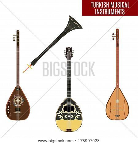 Vector set of traditional turkish musical instruments isolated on white background. Baglama zurna electric baglama and bouzouki in flat style.