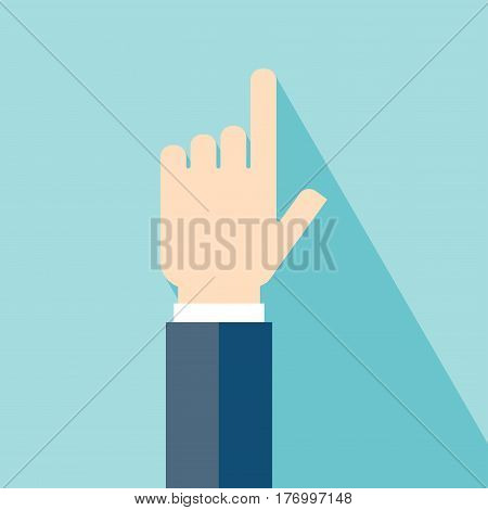Hand Icon Flat Design. Hand Icon with long shadow. Vector. EPS 10 vector illustration for design. All in a single layer. Vector illustration.