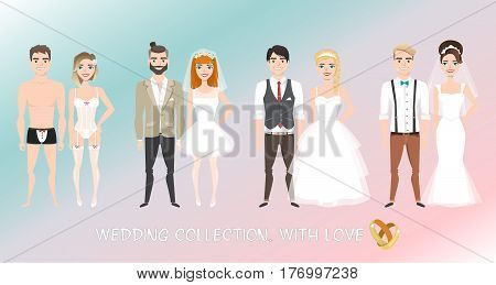 Set of four couples of newlyweds in cartoon style for wedding. Different images for bride and groom.