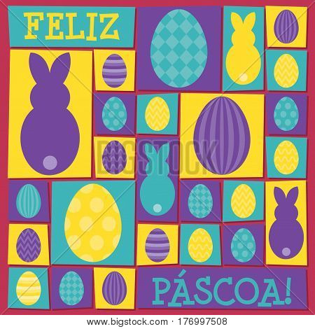 Funky Easter Card In Vector Format. Words Translate To