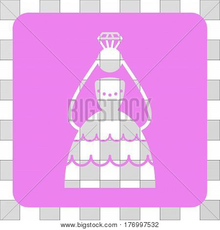 Crowned Bride interface toolbar icon. Vector pictogram style is a flat symbol perforation on a rounded square shape, violet color.