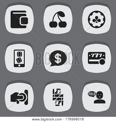 Set Of 9 Editable Gambling Icons. Includes Symbols Such As Mobile Playing, Thinking Man, King And More. Can Be Used For Web, Mobile, UI And Infographic Design.