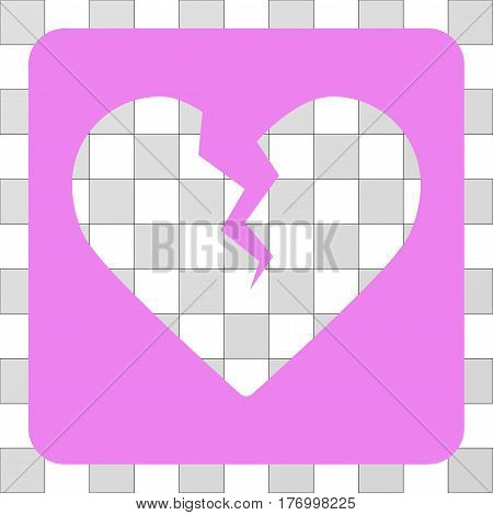 Divorce Heart rounded icon. Vector pictograph style is a flat symbol perforation inside a rounded square shape, violet color.