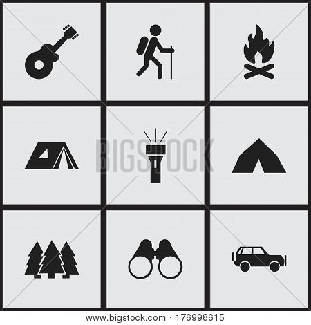 Set Of 9 Editable Camping Icons. Includes Symbols Such As Lantern, Tepee, Sport Vehicle And More. Can Be Used For Web, Mobile, UI And Infographic Design.