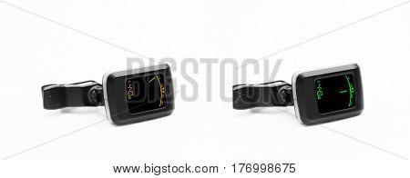 Guitar digital tuner isolated on white - Tuned