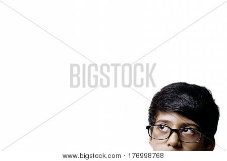 Thinking Half Head Of Genius Little Boy Wearing Glasses Isolated on white background