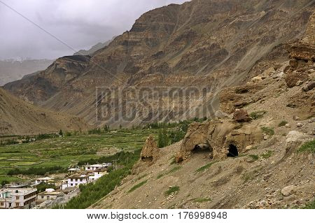 Ancient Buddhist Caves in the High-Altitude Mountain Desert near the town of Tabo, Spiti Valley, Northern India.