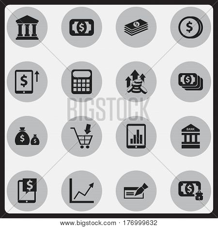 Set Of 16 Editable Banking Icons. Includes Symbols Such As Money-Guard, Diagram, To Deposit Money And More. Can Be Used For Web, Mobile, UI And Infographic Design.