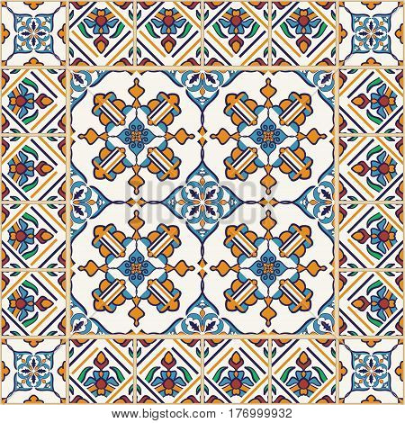 Vector seamless texture. Beautiful colored pattern for design and fashion with decorative elements. Portuguese tiles, Azulejo, Moroccan ornaments