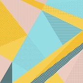 Abstract vector background in trendy retro 80s 90s memphis style. Universal card pastel colors. Retro design fashion art. Modern geometric background in retro 80s-90s style. Memphis hipster fashion poster