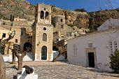 Traditional medieval era fortified village of Monemvasia at Greece poster