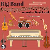 Vector set of jazz band musical instruments. Big band music festival template. Grand piano drum kit guitar clarinet sax french horn trumpet trombone and double bass treble clef in flat style poster