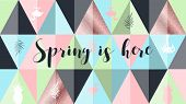 Spring is here poster, banner in trendy 80s-90s Memphis style. Copper metal and rose gold vector illustration, lettering and colorful design for poster, card, invitation. Easy editable for design. poster