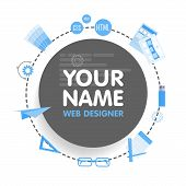 Social network web designer avatar. Place for your name. Template of the portfolio, banners, announcements, web sites and other projects. Vector illustration. poster