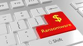 White keyboard with a red enter key showing the word ransomware and a dollar sign cybersecurity concept 3D illustration poster