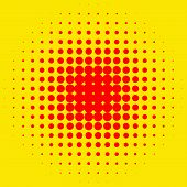 Popart halftone pattern background. Yellow and red duotone backdrop poster