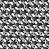 Memphis seamless pattern 80s-90s-vector illustration. Colorful geometric seamless pattern of cubes with different geometrical patterns. Monochrome design cubes. poster