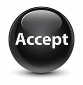 Accept isolated on glassy black round button abstract illustration poster