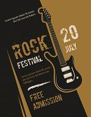Retro grunge rock and roll, heavy metal, music festival vector poster design. Banner rock festival, illustration of placard with rock guitar poster