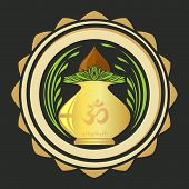 Puja Kalasha also kalash or kalasa. Metal pot used in Hindu rites and depicted in Hindu iconography. Vector illustration poster
