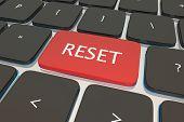 Reset Computer Keyboard Key Button Restart Again 3d Illustration poster