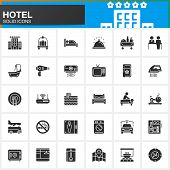 Hotel services and facilities vector icons set modern solid symbol collection filled style pictogram pack. Signs logo illustration. Set includes icons as hotel bed reception safe tv pool key poster