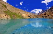 Clearwater Lake in the High-Altitude Mountain Desert of the Himalayas, Ladakh District, Northern India poster