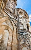 travel to Italy - decorated towers of Norman cathedral Duomo di Monreale in Sicily poster