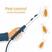 Pest control banner concept. Man exterminator holds a sprayer in hands spraying pesticide. Destruction bug. Service to protect the house. Vector illustration flat design. Isolated on white background. poster