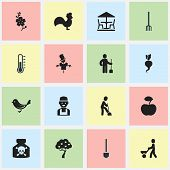 Set Of 16 Editable Agriculture Icons. Includes Symbols Such As Ground Shoveling, Fruit Woods, Digger Human And More. Can Be Used For Web, Mobile, UI And Infographic Design. poster