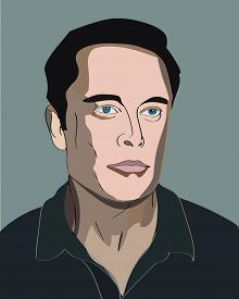 13 Mar, 2017: Famous Tesla and Spacex founder, Paypal investor, Elon Musk Vector portrait.