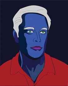 13 Mar, 2017: Famous SpaceX founder, Elon Musk Fantasy Vector portrait as an blue avatar.