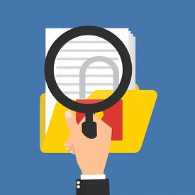Business data protection analysis. Hand holding magnifying glass for seeing document folder encrypted protected critical important document data. Vector illustration business data privacy concept.