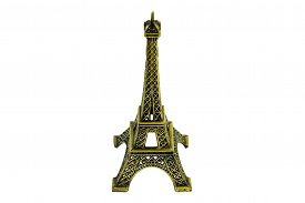 Eiffel tower replica isolated on white background.