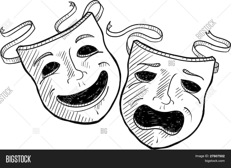 Drama masks sketch vector photo free trial bigstock - Dessin de theatre ...